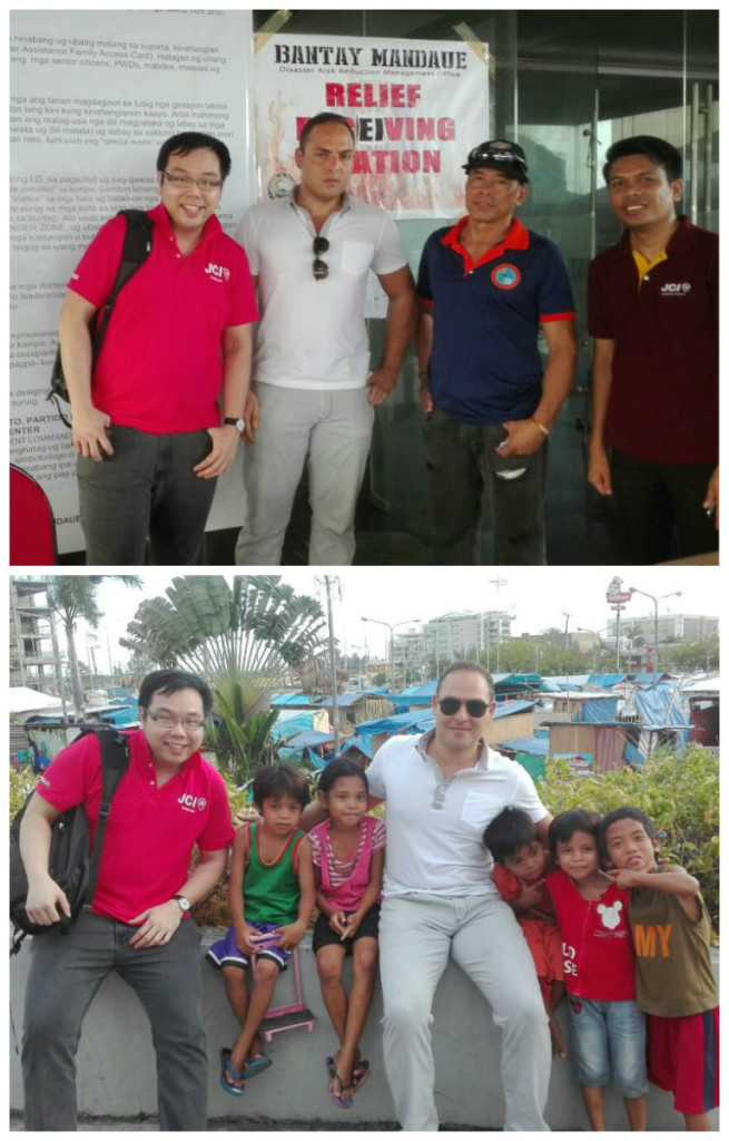 Photo opp with the volunteers from JCI and the Bantay Mandaue Relief Receiving Station as well as some of the children in the evacuation area
