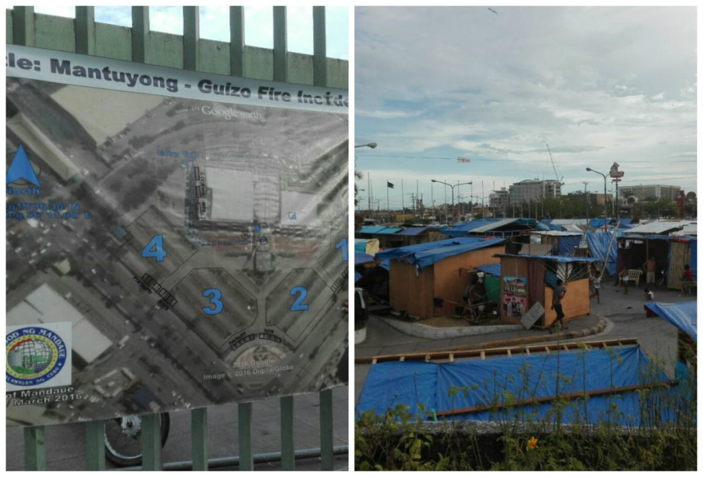 1st picture (left) shows the areas that were greatly damaged by fire, while 2nd image shows the temporary homes of the affected families